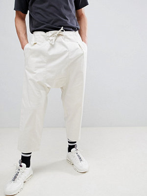 ASOS DESIGN Drop Crotch Trousers In Birch With Tie Waist - Mushroom