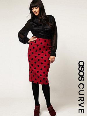 ASOS Curve Pencil Skirt In Flock Spot