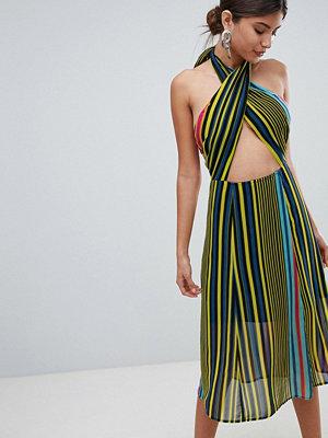 Missguided HalterNeck Stripe Midi Dress