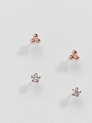 Kingsley Ryan örhängen Rose Gold Plated Rhinestone Stud Earrings Set - Rose gold