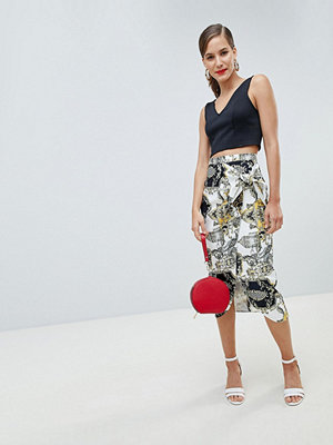 River Island midi skirt in scarf print and wrap over detail - Multi