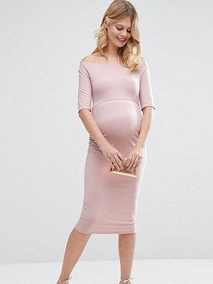 ASOS Maternity PETITE Bardot Dress With Half Sleeve - Nude