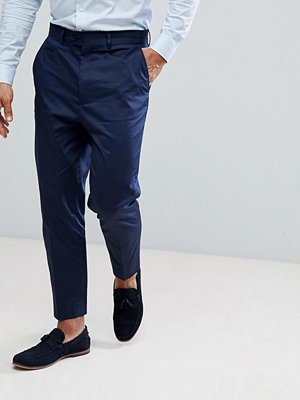 ASOS Tapered Smart Trousers In Navy Cotton Sateen