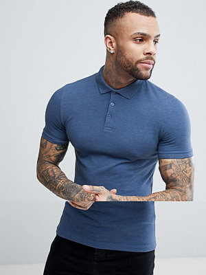 ASOS DESIGN muscle fit pique polo in blue - Blue ivy marl