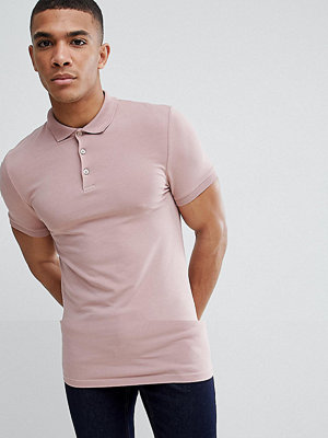 ASOS DESIGN longline muscle fit jersey polo in pink - Dream