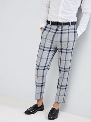 ASOS DESIGN Tapered Smart Trousers In Light Grey Oversized Check