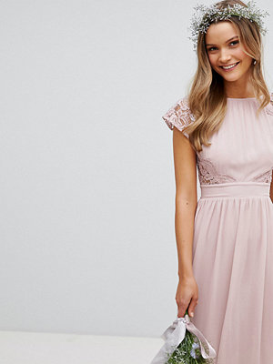TFNC Maxi Bridesmaid Dress with Scalloped Lace and Open Back - Mink