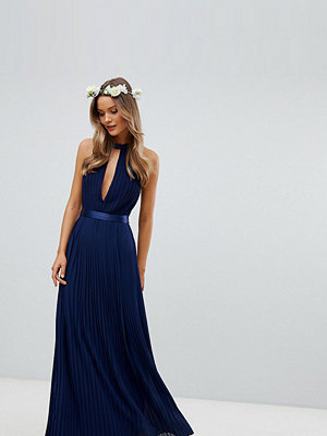 TFNC Pleated Maxi Bridesmaid Dress with Cross Back and Bow Detail
