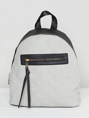 Yoki Fashion ryggsäck Quilted Backpack with Contrast Black Zip - Light grey