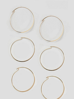 ASOS örhängen DESIGN Pack Of 3 Fine Flat Hoop Earrings