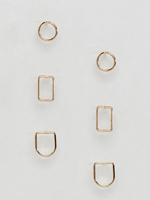 ASOS örhängen DESIGN Pack Of 3 Fine Geo Shape Stud Earrings