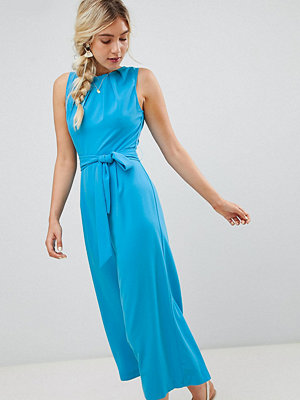 Warehouse jumpsuit with tie waist in blue - Sydney blue