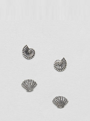 ASOS örhängen DESIGN Pack Of 2 Sterling Silver Mermaid Shell Stud Earrings