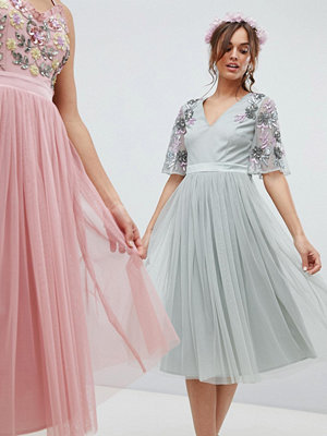 Maya embellished tulle sleeve midi tulle dress in green - Green lily