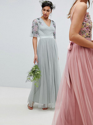 Maya embellished tulle sleeve maxi tulle dress in green - Green lily