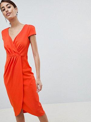 City Goddess Bardot Wrap Over Pencil Midi Dress