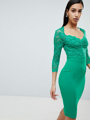 City Goddess 3/4 Sleeve Lace Midi Dress