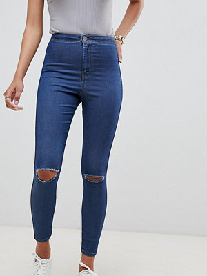 ASOS DESIGN Rivington high waisted jegging in mid wash with knee rips - Mid stone wash