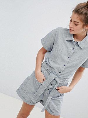 Pull&Bear pocket detail denim playsuit in grey