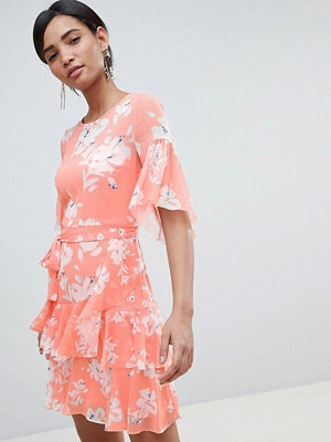 French Connection Floral Flippy Dress - Peach blossom