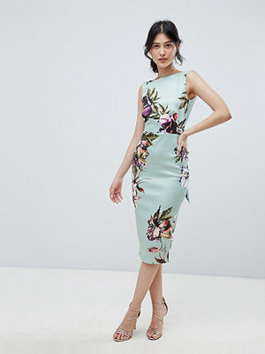 True Violet bow back sleeveless midi bodycon dress in floral print - Mint floral