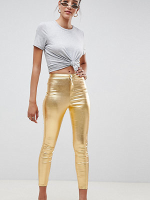 ASOS DESIGN Rivington metallic guldfärgade denimjeggings med hög midja