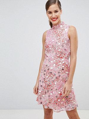 River Island high neck embellished skater dress - Pink embell