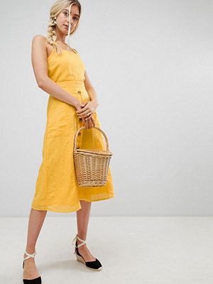 Warehouse midi dress with button front in yellow - Ochre