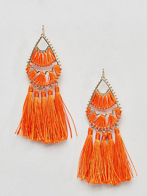 Missguided örhängen Triple Row Tassel Drop Earrings - Orange