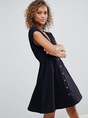 ASOS DESIGN mini dress with belt and tortoiseshell buttons