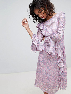 Ghost long sleeve printed midi dress - Salma floral repeat