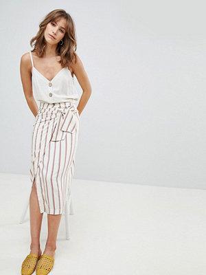 Mango stripe tie waist detail midi skirt