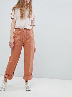 Pull&Bear denim co-ord wide leg jeans in terracota - Terracota