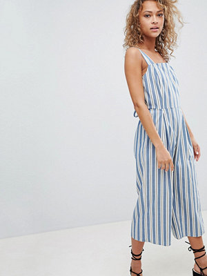 Miss Selfridge culotte jumpsuit in stripe with tie back