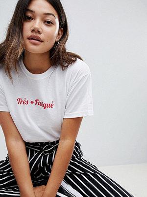 Daisy Street T-shirt med très fatigué-tryck