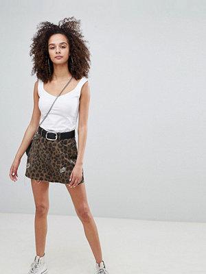 Bershka leopard print denim skirt - Multi
