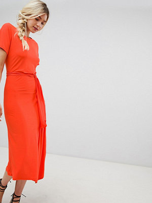 Warehouse tie detail midi dress in orange - Orange