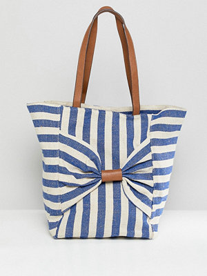 Oasis shopper bag with bow detail in stripe - Stripe