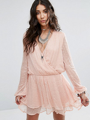 Free People Daliah Wrap Mini Dress - Peach