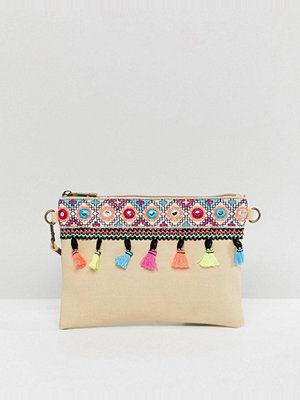 South Beach kuvertväska Natural Beach Clutch with Tassle Mirror Deatil and Removeable Strap