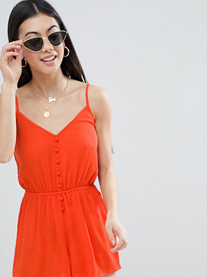 ASOS Petite ASOS DESIGN Petite Playsuit in Crinkle with Button Front - Tomato
