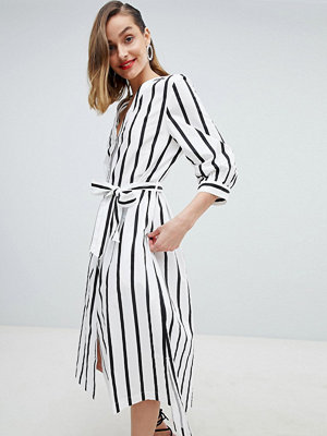 Selected Femme Stripe Midi Dress With Tie Waist
