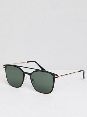 Solglasögon - ASOS DESIGN Retro Sunglasses In Gold & Black Metal With Smoke Lens
