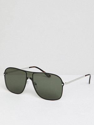 Solglasögon - ASOS DESIGN Aviator Sunglasses In Silver Metal With Black Visor Laid On Lens