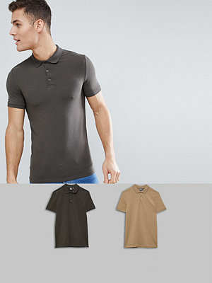 Pikétröjor - ASOS DESIGN muscle fit polo in jersey 2 pack SAVE - Ckhaki/bmarl