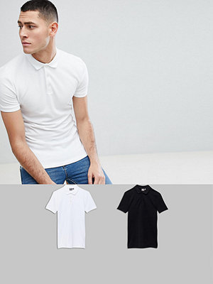 ASOS DESIGN Muscle Fit Polo In Pique 2 Pack Save - Wht/ blk