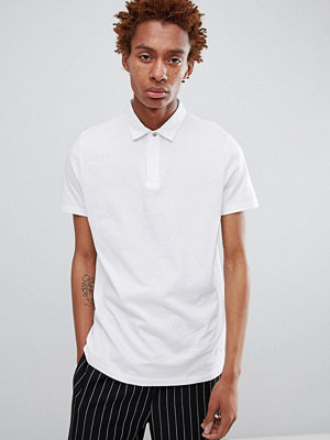 Pikétröjor - ASOS DESIGN jersey polo with concealed zip placket and popper