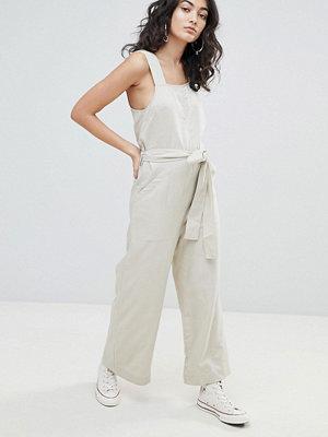 Weekday Wide Leg Jumpsuit with Tie Waist - Off white