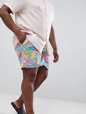 Polo Ralph Lauren Big & Tall Traveller Tropical Print Swim Shorts Player Logo in Blue - Hibiiscus tropical