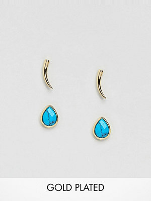 Orelia örhängen Gold & Blue Stud Earrings Pack